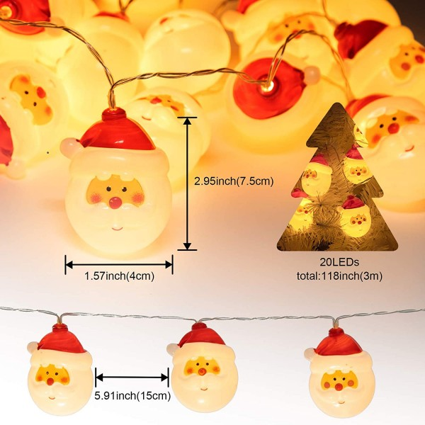 20 LED Santa Lights 9.84 feet Battery Operated Waterproof Christmas Lights 8 Modes Holiday String Lights Homes, Christmas Tree,  Room, Indoor Wall Decoration, Outdoor Tree Decoration.