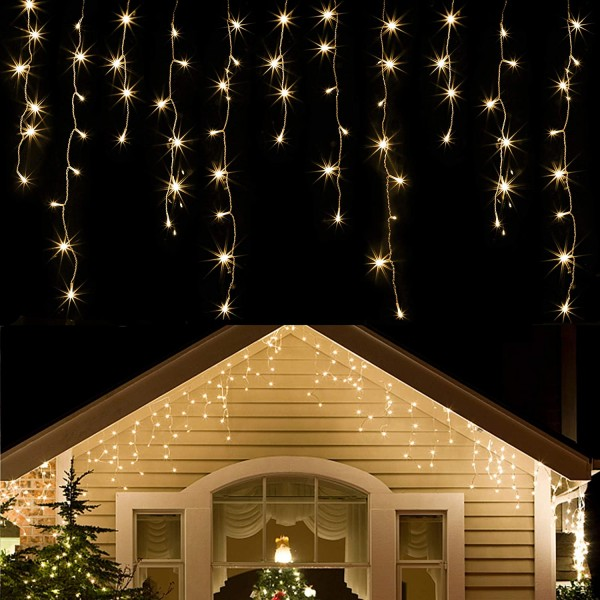 360 LED Christmas Icicle Lights Outdoor Dripping I...
