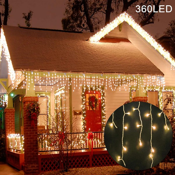 360 LED Christmas Icicle Lights Outdoor Dripping Icicle String Light, 29.5ft 8 Modes Curtain Fairy Lights with 60 Drops, Indoor Xmas Holiday Wedding Party Decorations
