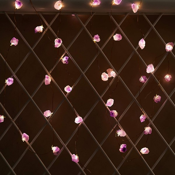 Amethyst Raw Stones LED Decorative String Lights 10ft 40 Lights with Remote for Mother's Day Tent Wedding Valentine's Day Present Bedroom Christmas Party Birthday Ornament