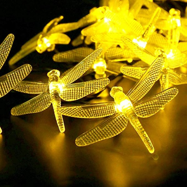 Solar String Light Waterproof Outdoor Fairy Lights 22Ft 30 Crystal Dragonfly Lights for Pation Homes Gardens