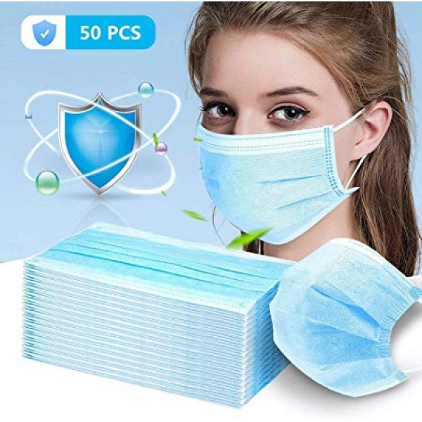 50 Pcs Disposable Surgical Mask Dust Breathable Ea...