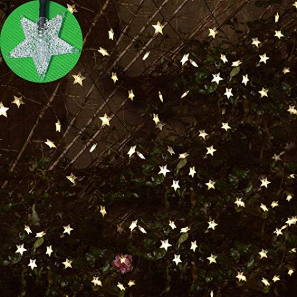 Solar Outdoor String Lights - Waterproof 30ft 50 LED Star String Lights for Garden Christmas Tree Decorations Wedding Party Ambiance Twinkle Lights