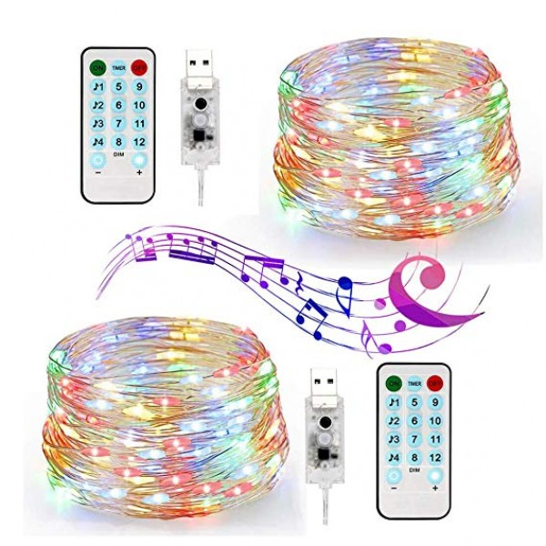 Indoor Fairy String Lights - USB 33ft 100 LED Wate...