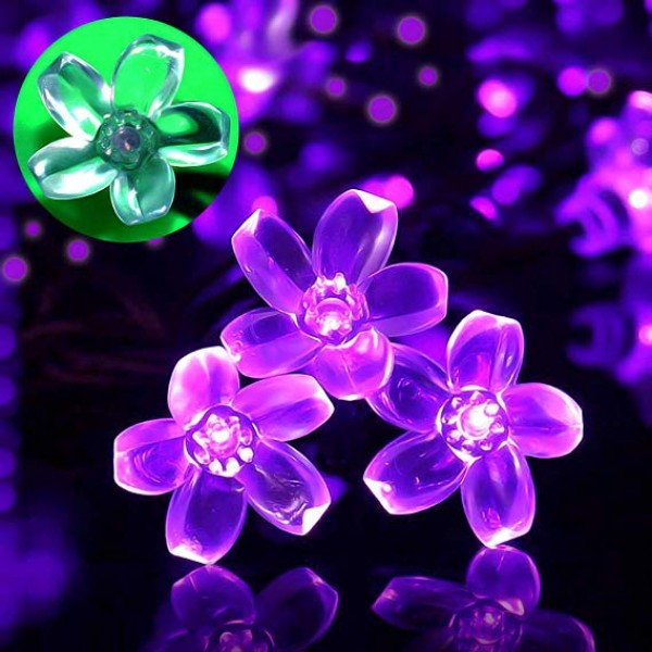 Solar Powered String Lights Outdoor Waterproof 50LED Peach Blossom Xmas Decorations for Garden Patio