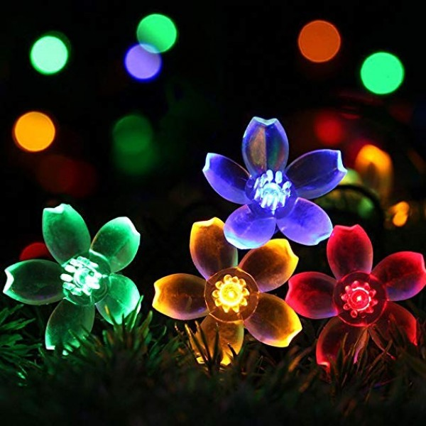Solar Powered String Lights Outdoor Waterproof 50L...