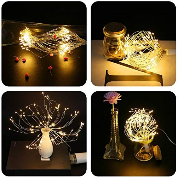 2 Pack LED String Lights, 8 Modes Dimmable with Remote Control, Battery Operated Hanging Starburst Lights, IP65 Waterproof, Decorative Copper Wire Lights for Parties(Warm White)